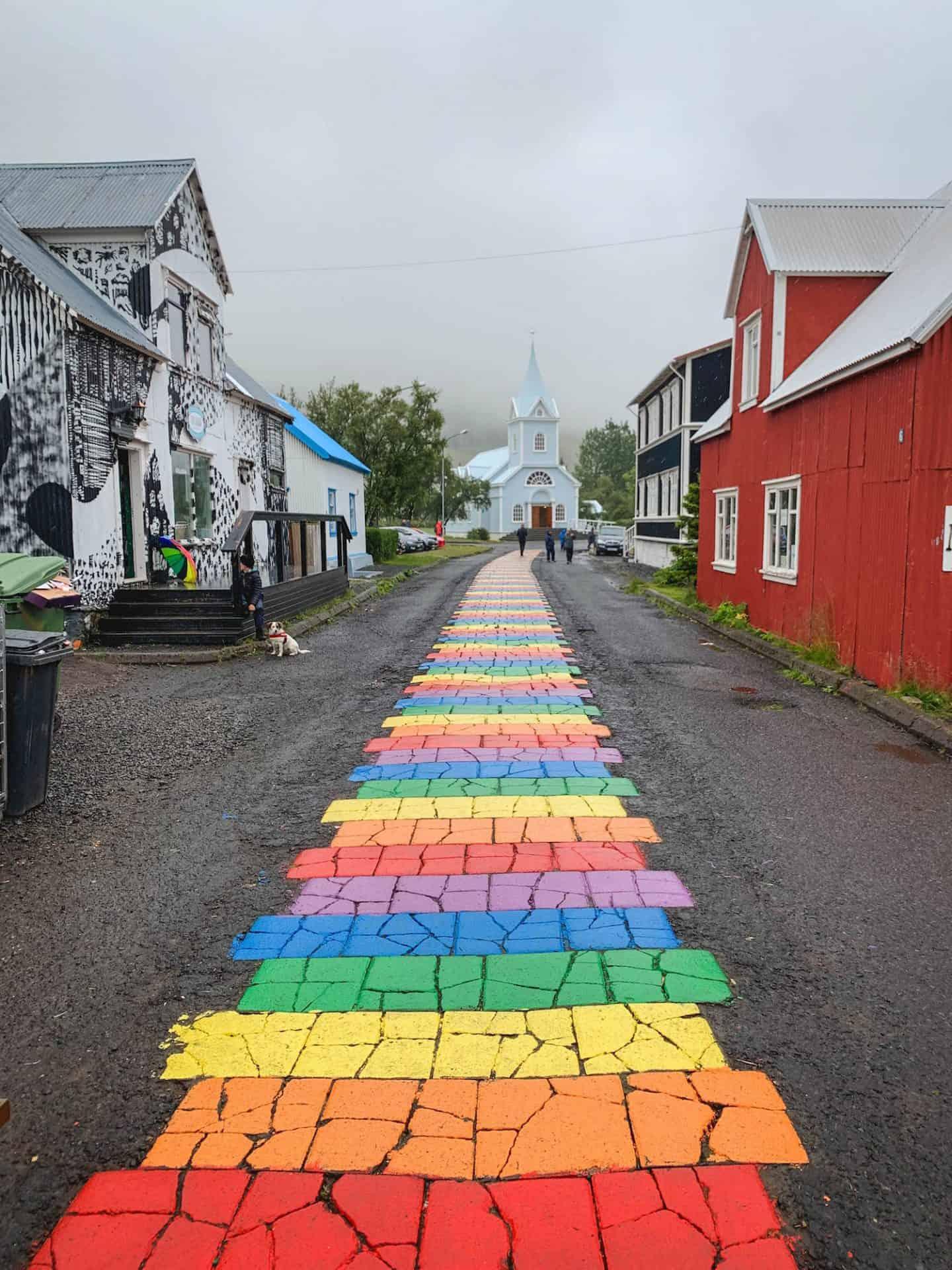 Seyðisfjörður Church, the famous rainbow church in East Iceland