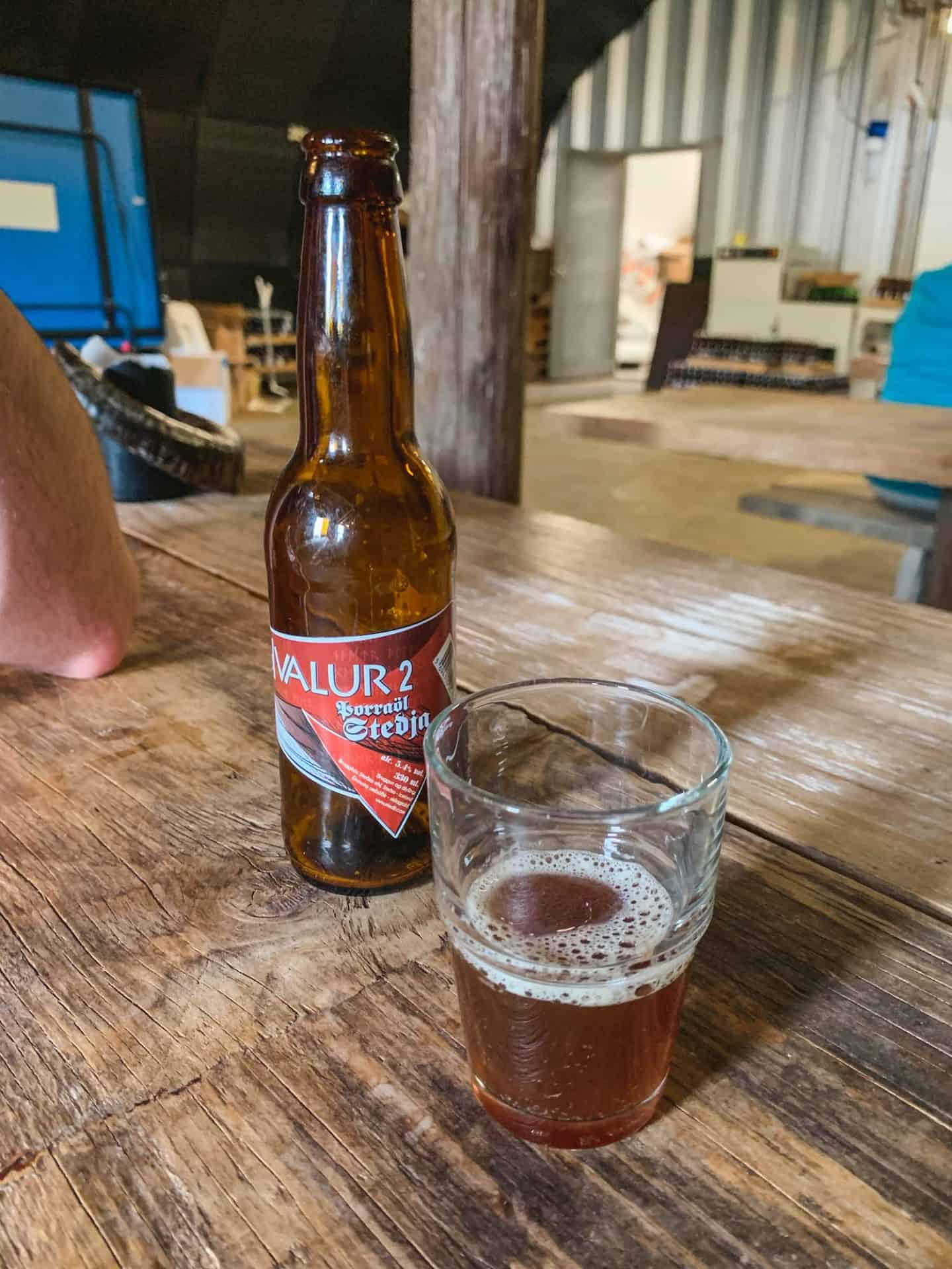 Sheep-dung smoked whale sperm beer at Steðji Brewery in Bogarnes, Iceland