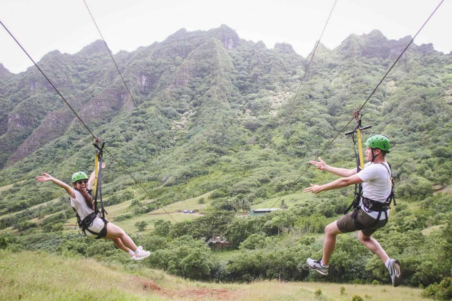 Zip lining at Kualoa Ranch, one of the coolest things to add to your Oahu itinerary