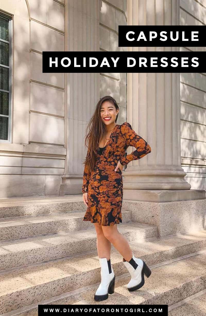 You don't have to buy a new dress for every occasion. Here are some of the best timeless holiday party dresses & outfits to add to your capsule wardrobe!