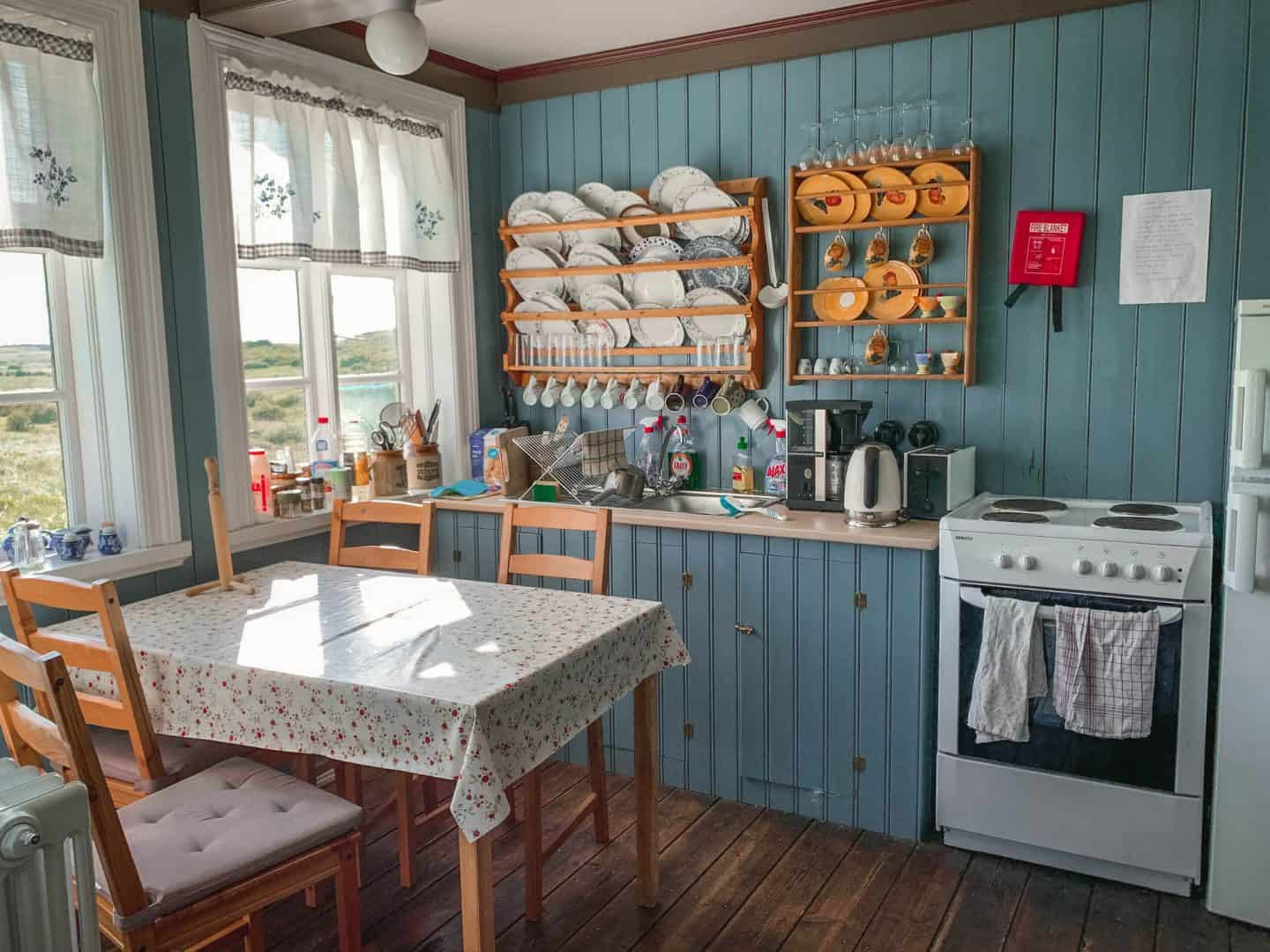 A farm-housed inspired kitchen in an Airbnb guesthouse in Iceland