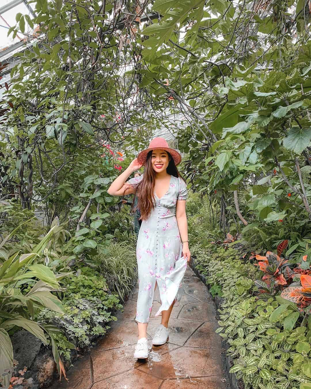 Wearing Ever New Melbourne summer dress at Allan Gardens Conservatory in Toronto, Canada
