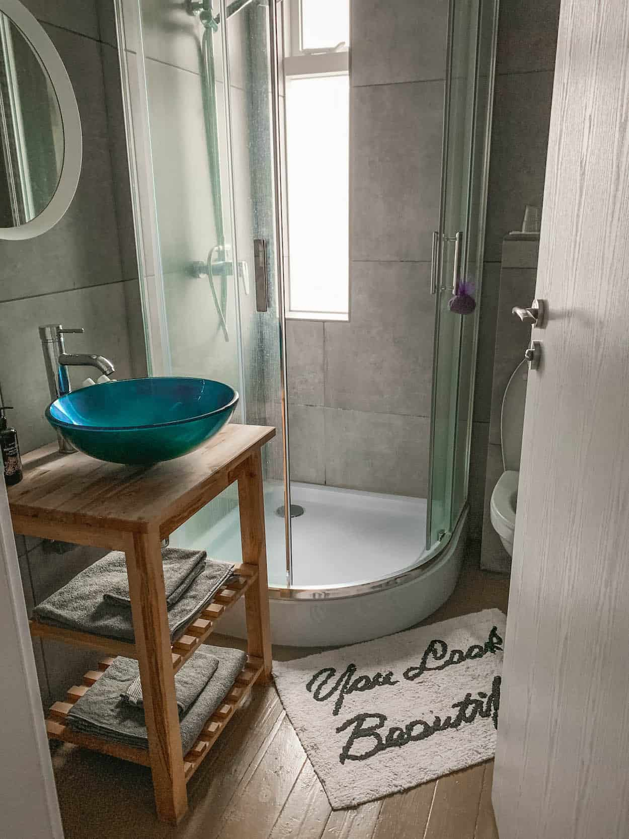 A modern renovated bathroom inside an Airbnb in Iceland