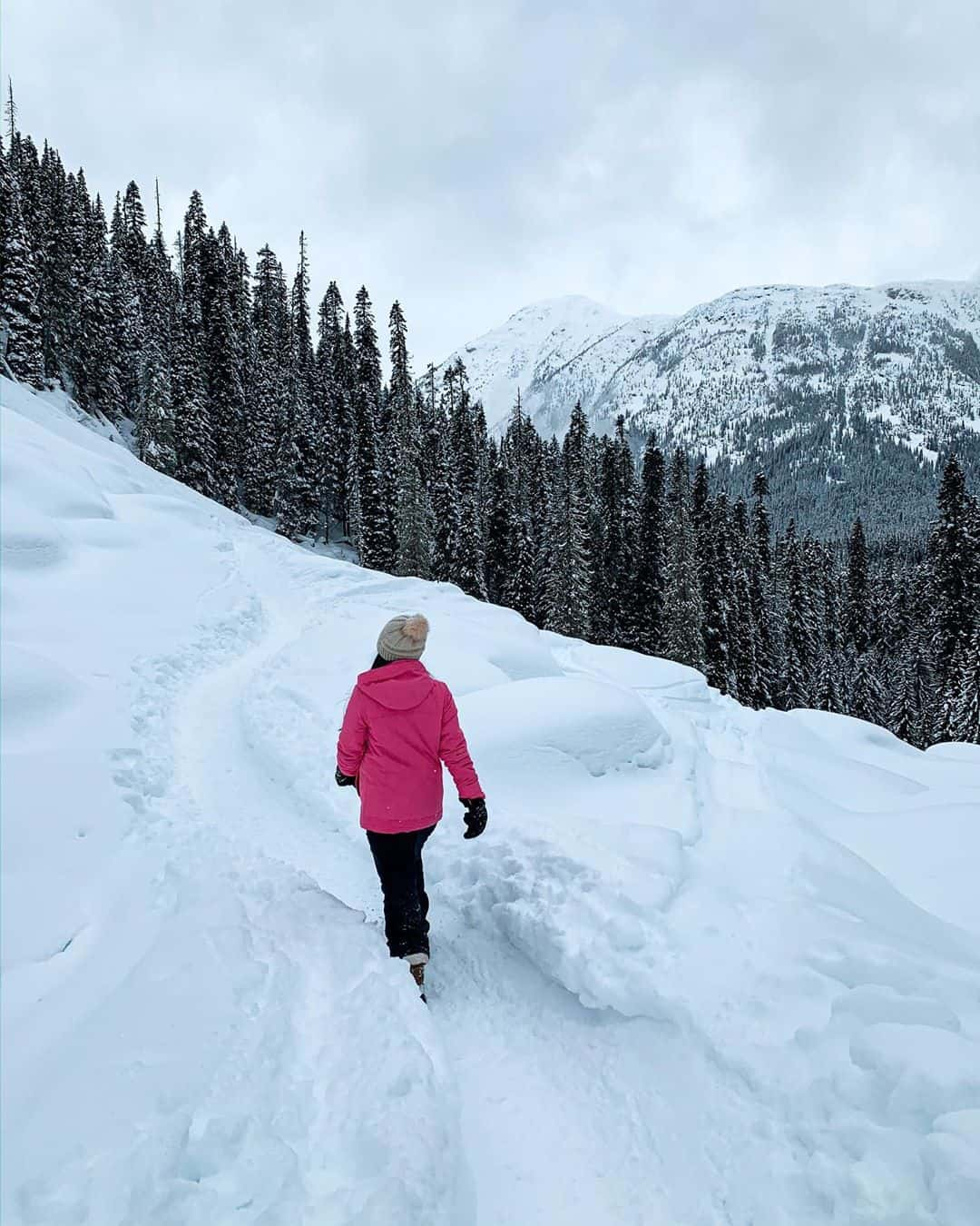 Hiking Joffre Lakes Provincial Park during the winter