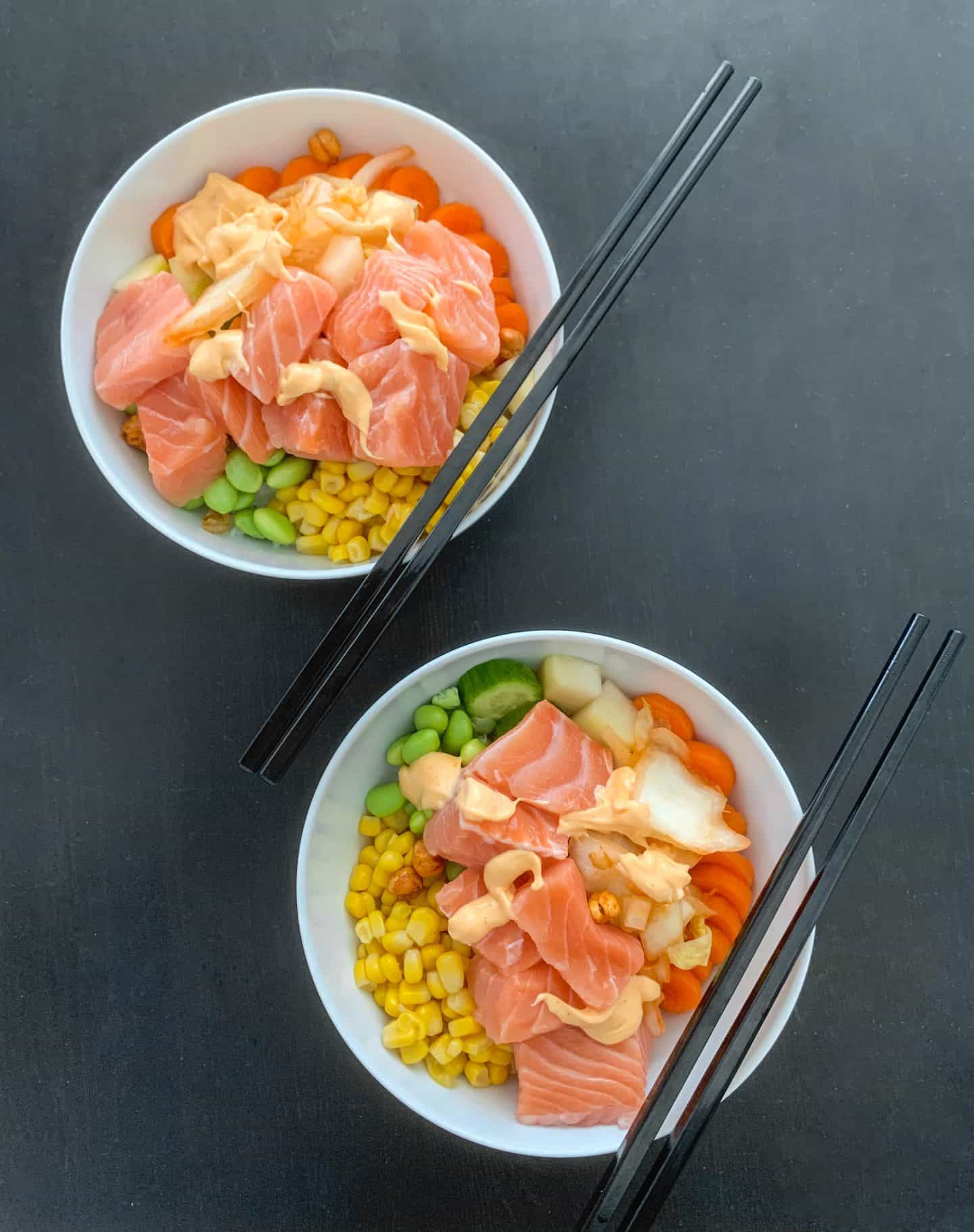 Homemade poké bowls are an easy lunch idea to make at home!