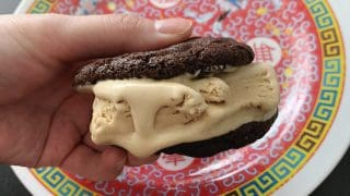Coffee ice cream sandwich