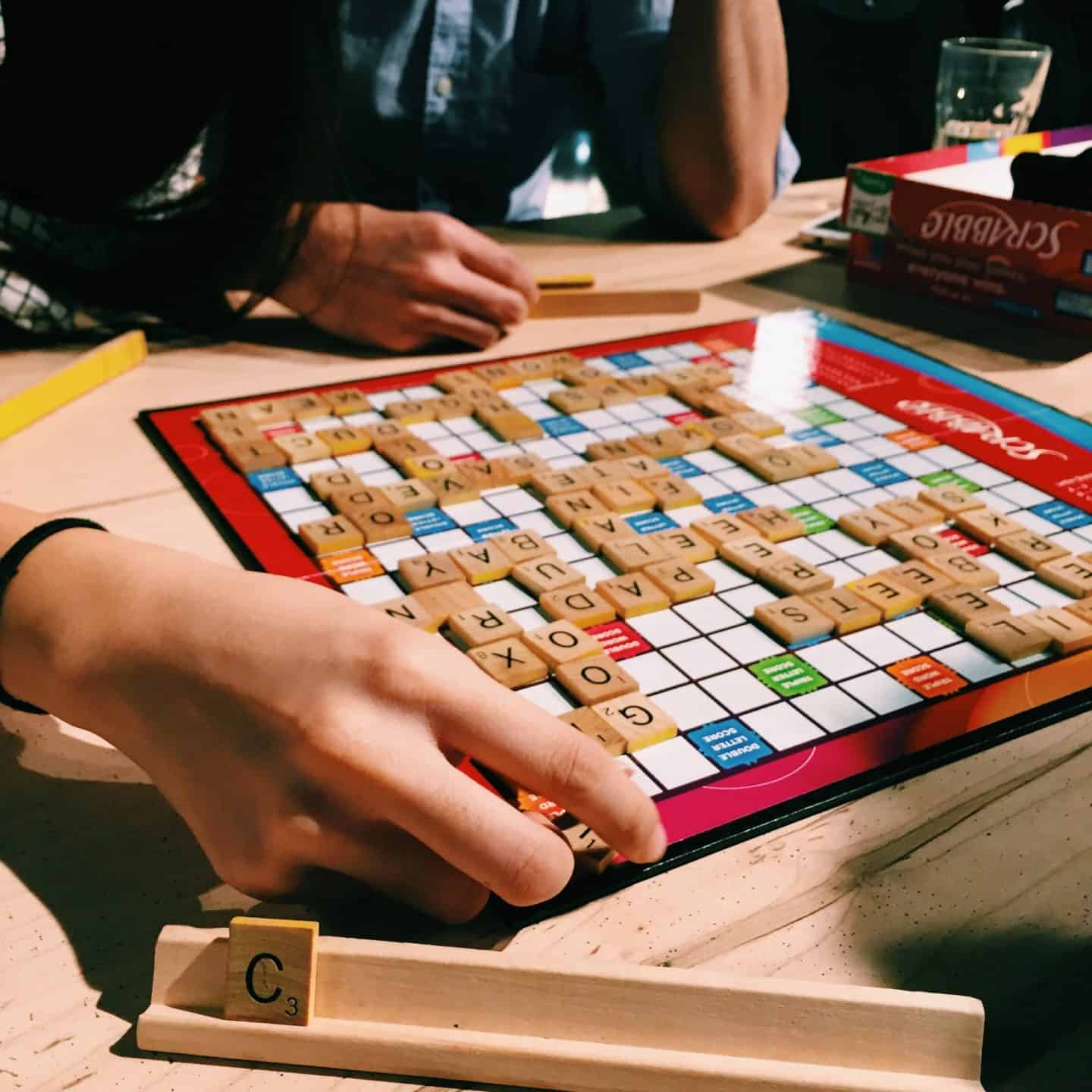 Scrabble at Snakes and Lattes Board Game Cafe in Toronto