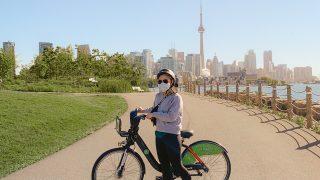 Biking at Trillium Park in Toronto, Ontario