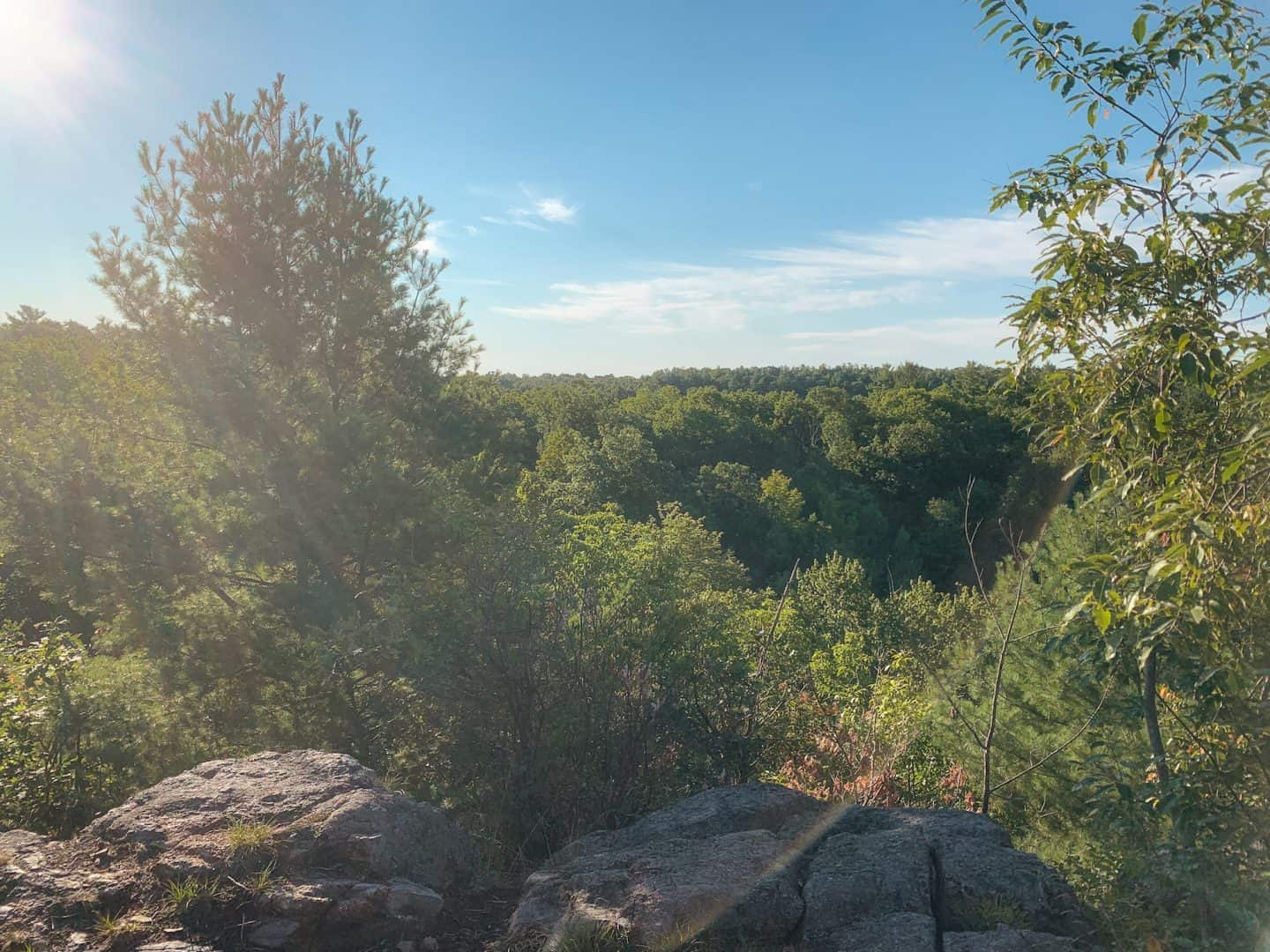 Hiking at Marble Rock Conservation Park in Gananoque, Ontario