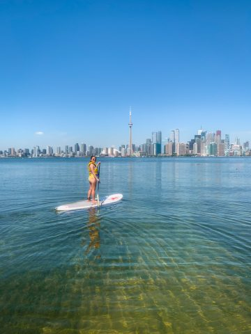 Stand up paddle boarding at the Toronto Islands