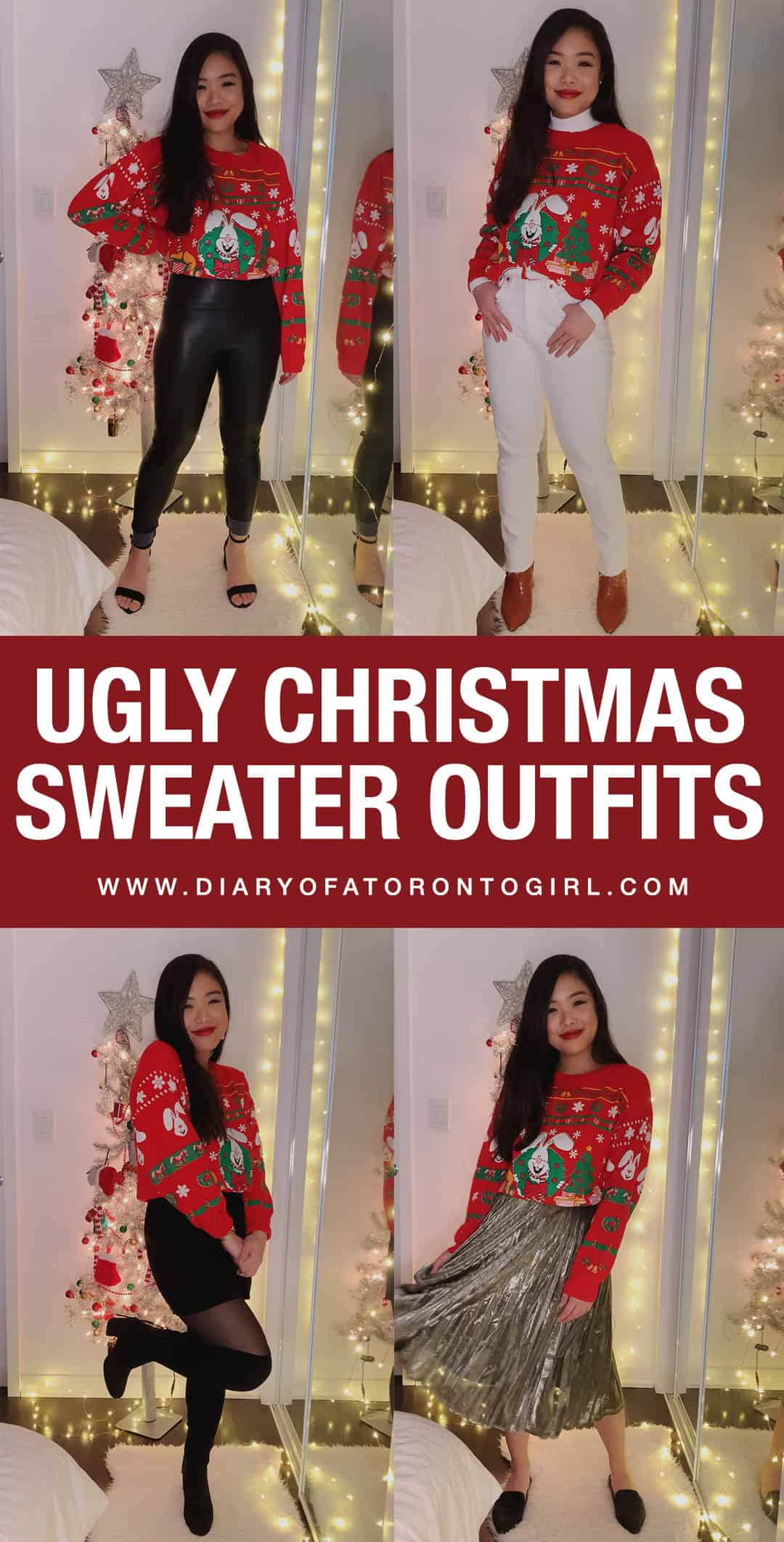 Ugly Christmas sweater outfit ideas to wear this holiday season if you're not sure how to style them!