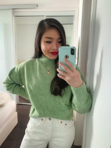 Amazon green knit sweater with Levi's white 501 denim