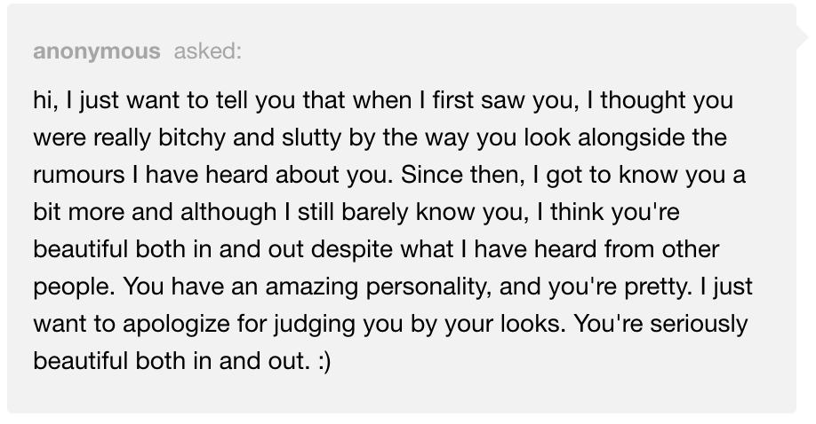 Anonymous Tumblr message