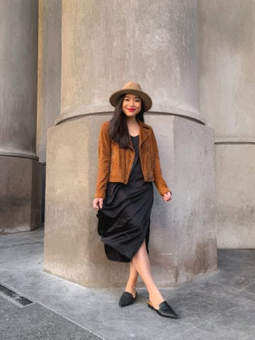 Fall outfit - The Drop slip dress and BLANKNYC suede moto jacket (Toronto Union Station)