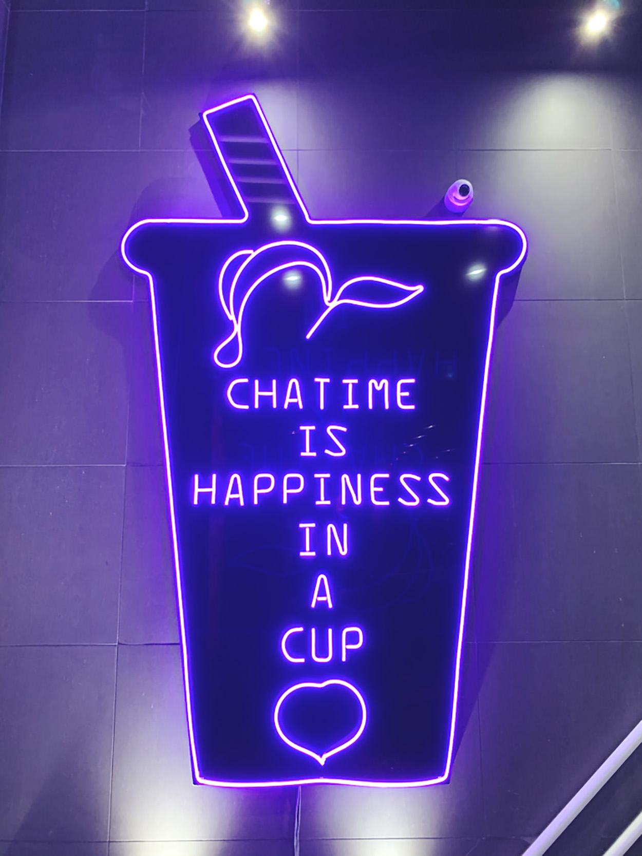 Neon sign at Chatime Richmond Hill