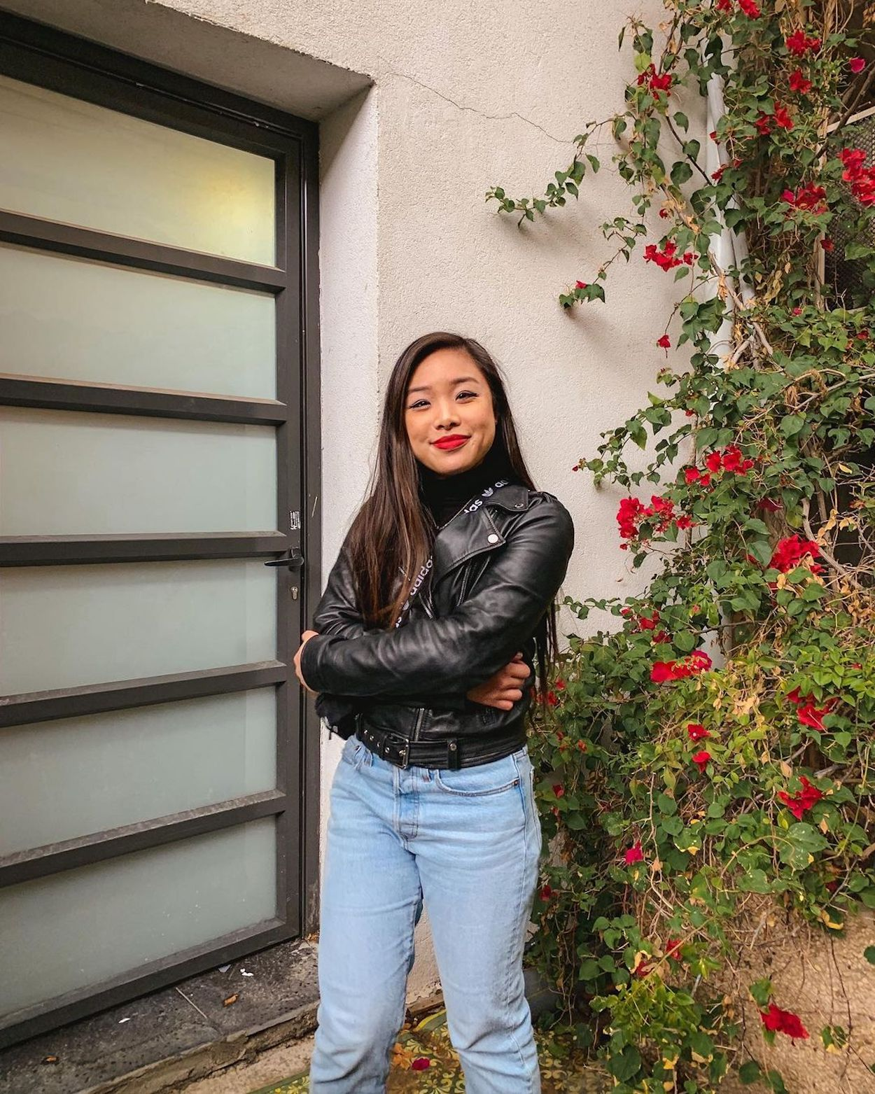 Fall outfit - M Boutique black turtleneck, Rudsak leather jacket, Levi's wedgie jeans
