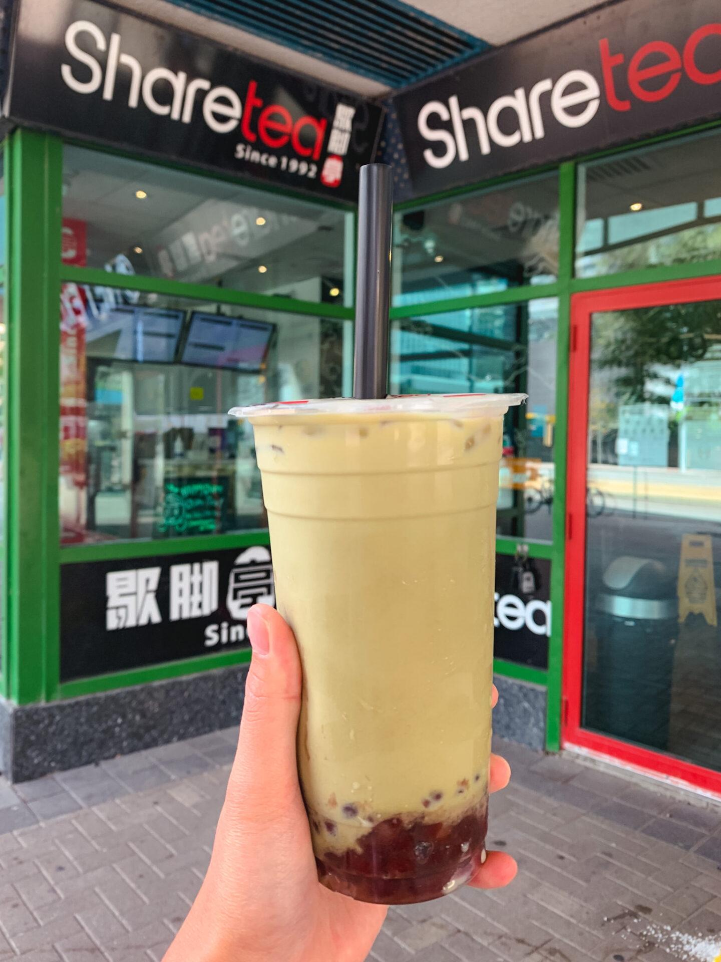 Matcha Red Bean Milk Tea from Sharetea, a bubble tea shop in Toronto