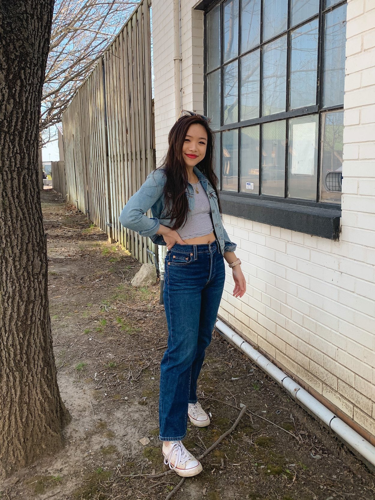 Spring outfit - Brandy Melville Canada striped t-shirt, Levi's cropped denim jacket, Levi's ribcage jeans