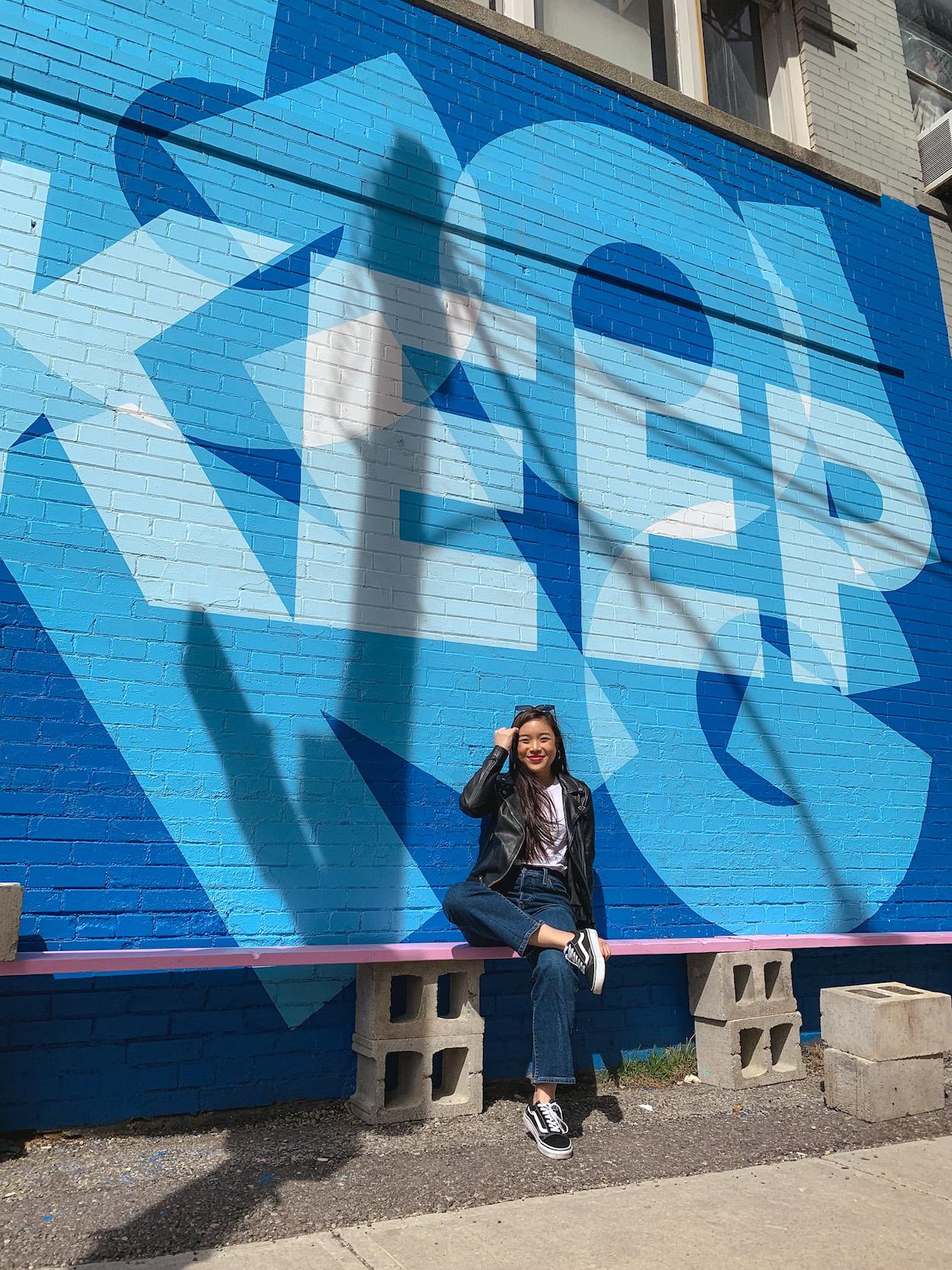 """Keep Going"" mural at StrangeLove Coffee in Toronto"