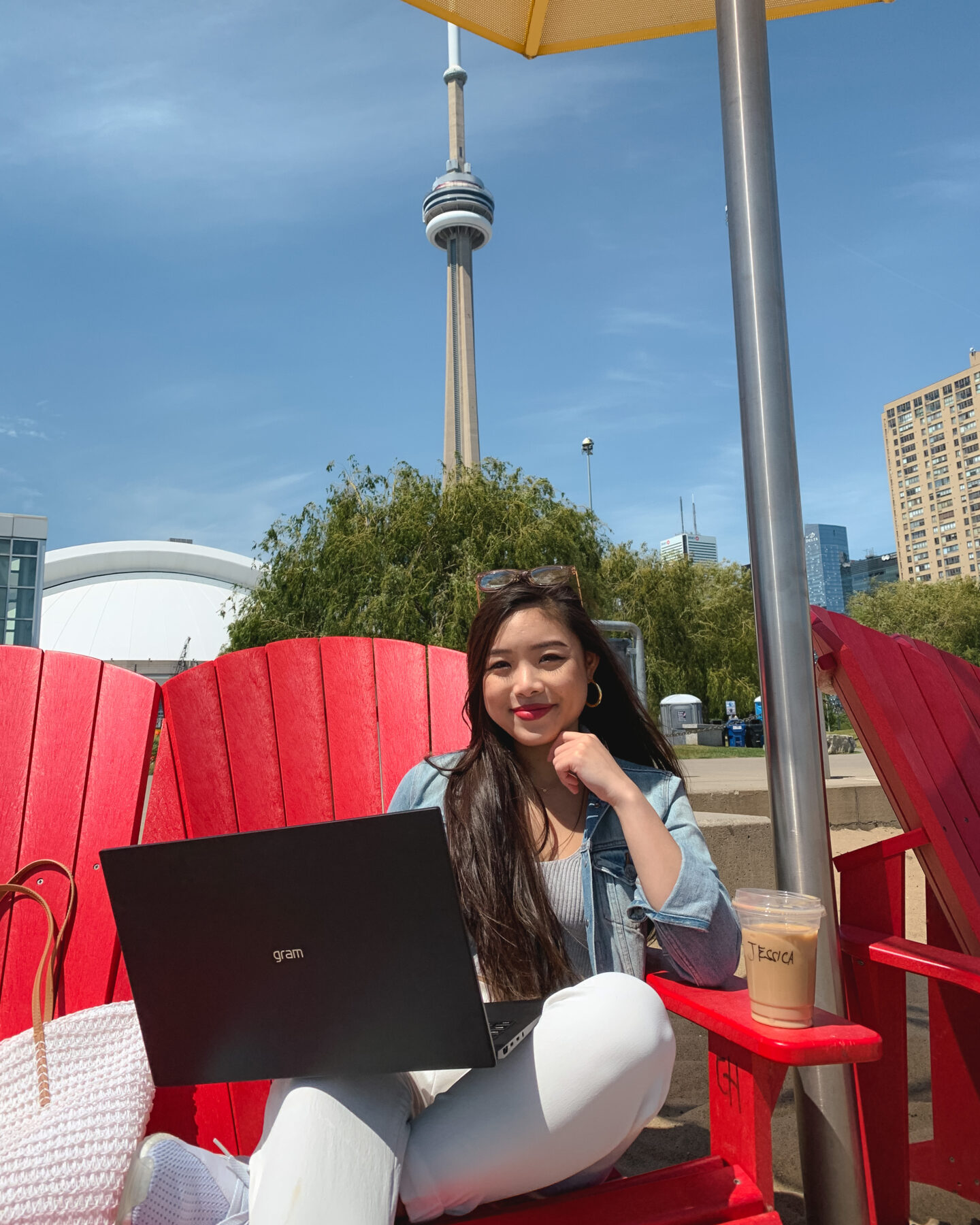 """Working on the 2021 LG gram 16"""" laptop at HTO Park in downtown Toronto"""