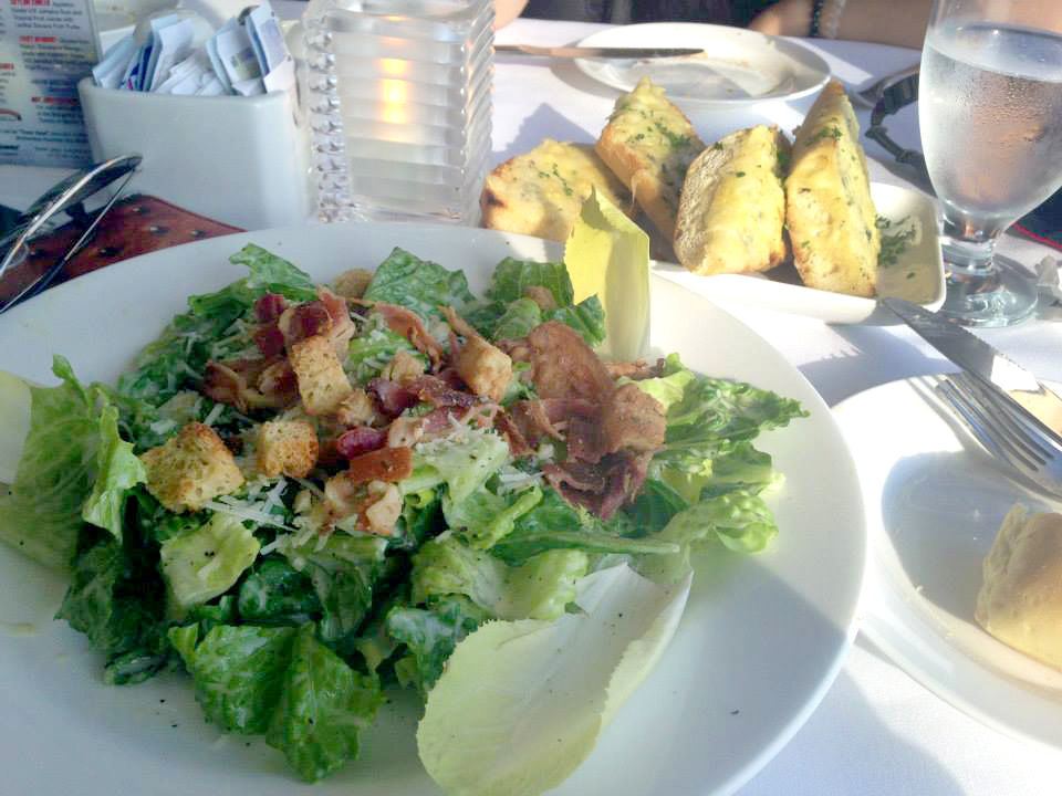 Caesar salad and garlic bread at Skylon Tower Restaurant in Niagara Falls, Ontario