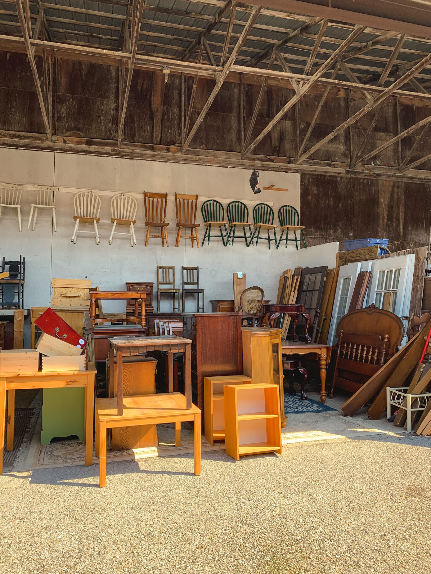 Vintage furniture at Courtice Flea Market in Courtice, Ontario