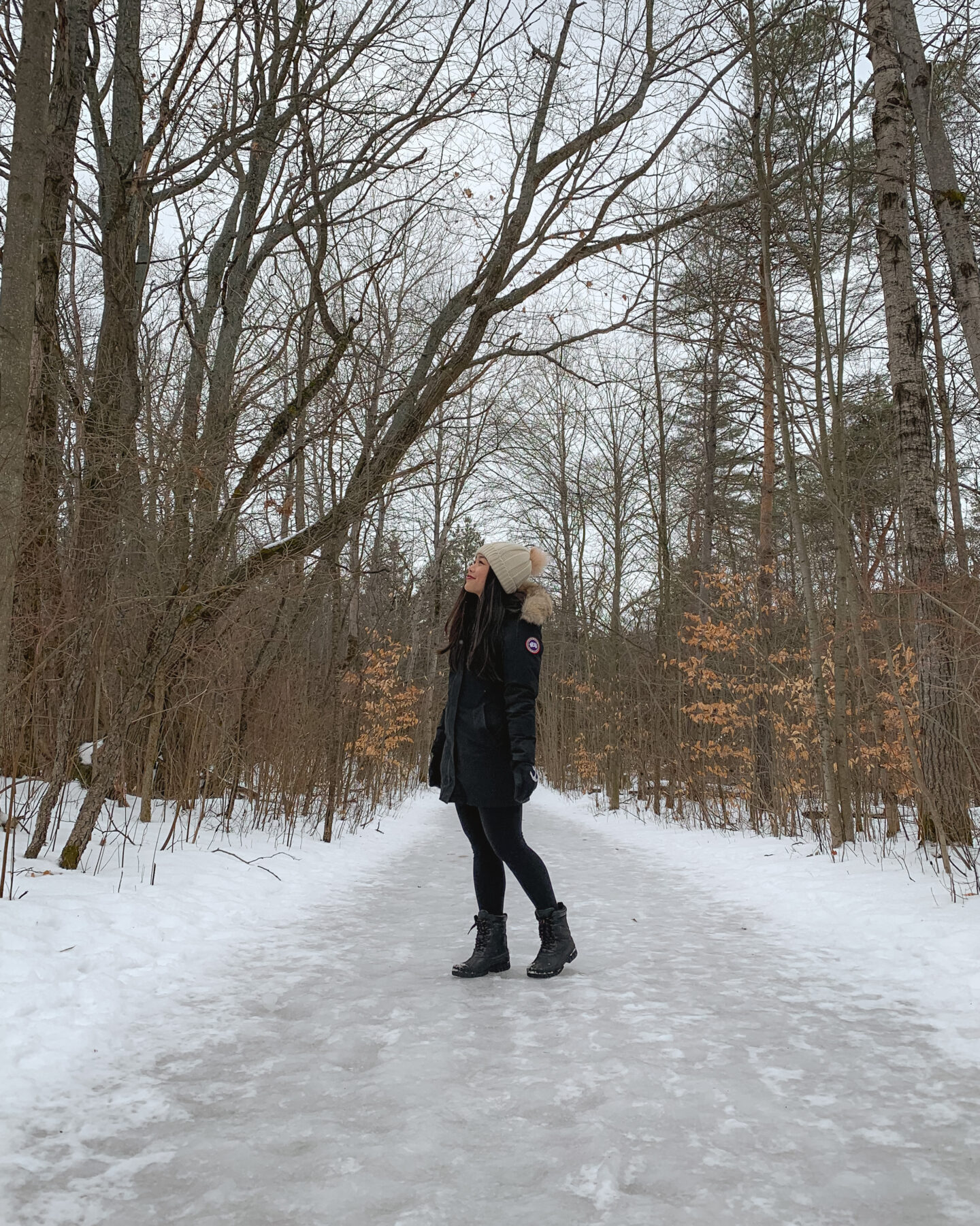 Winter hiking in Long Sault Conservation Area, Bowmanville, Ontario