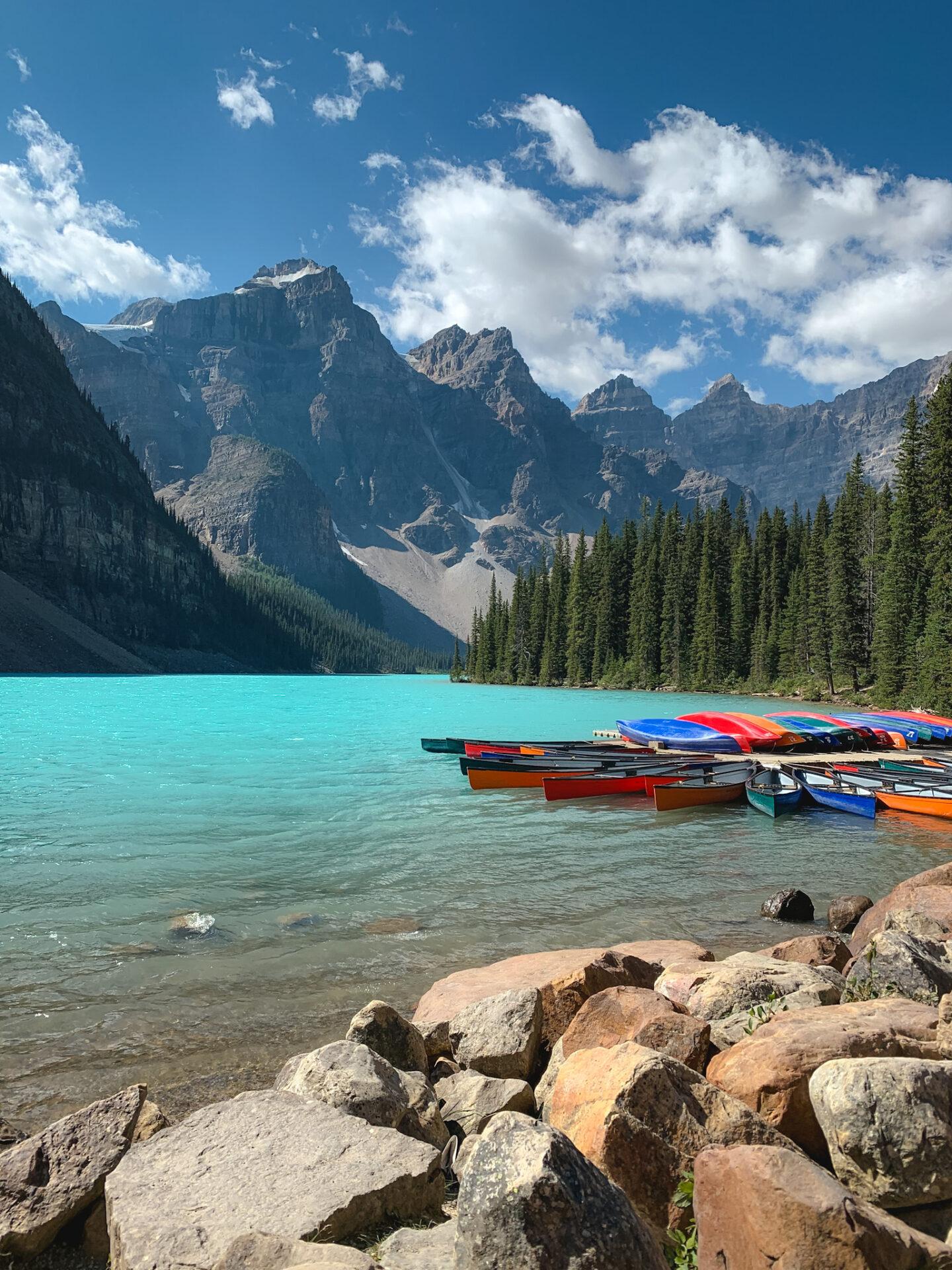 Canoes at Moraine Lake in Banff, Alberta