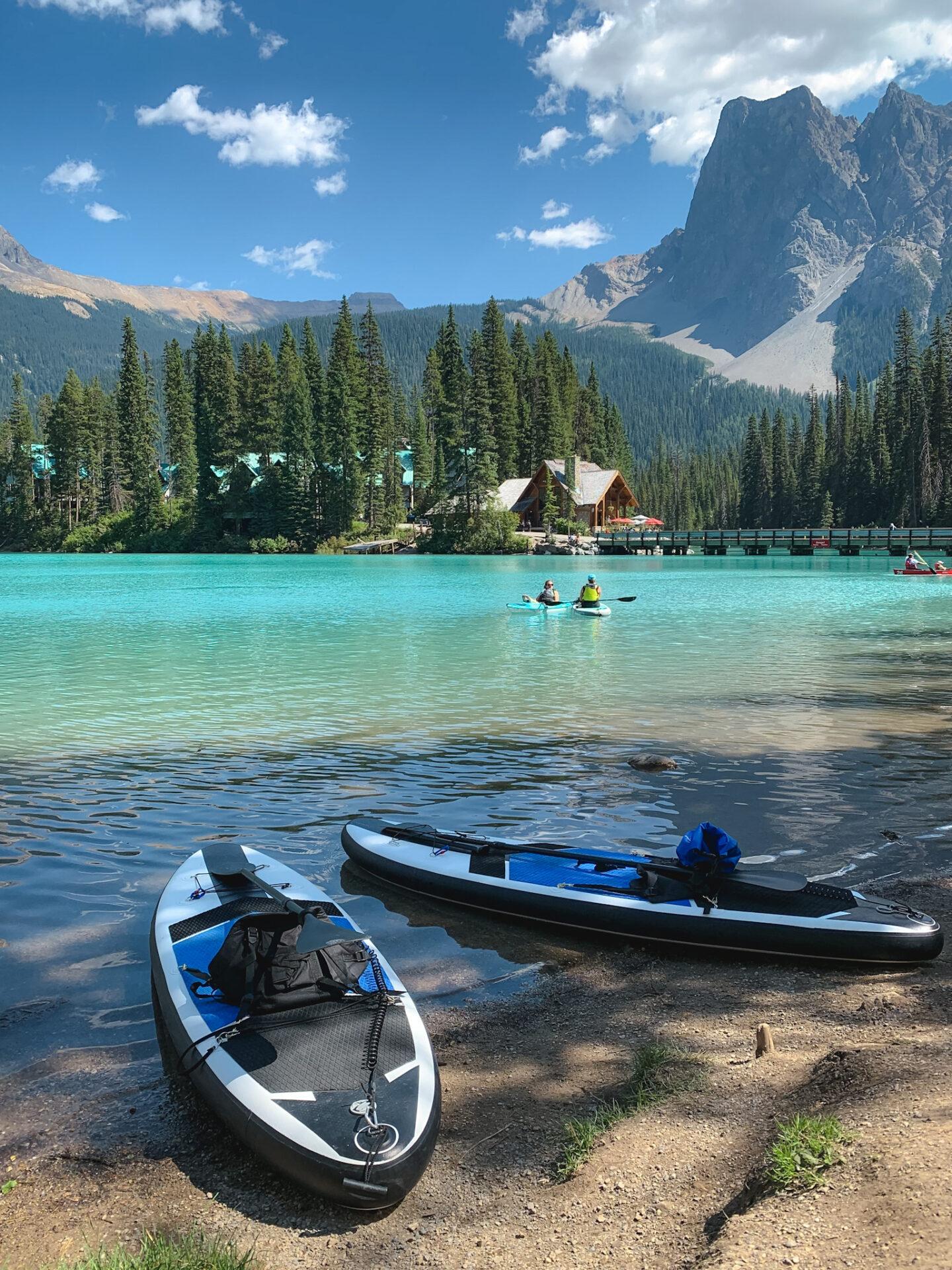 EVT Bikes SUP boards at Emerald Lake in Yoho National Park, British Columbia