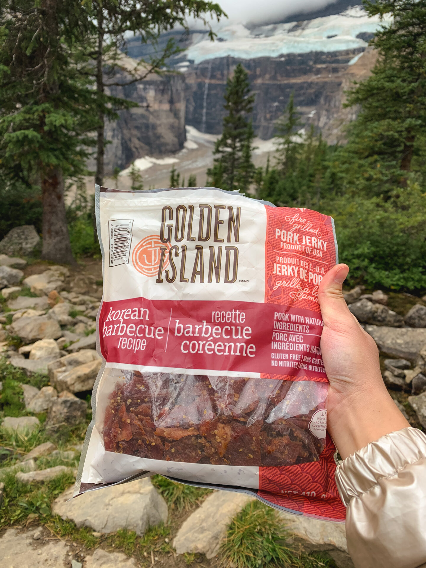 Golden Island pork jerky at the Plain of the Six Glaciers hiking trail in Lake Louise, Alberta