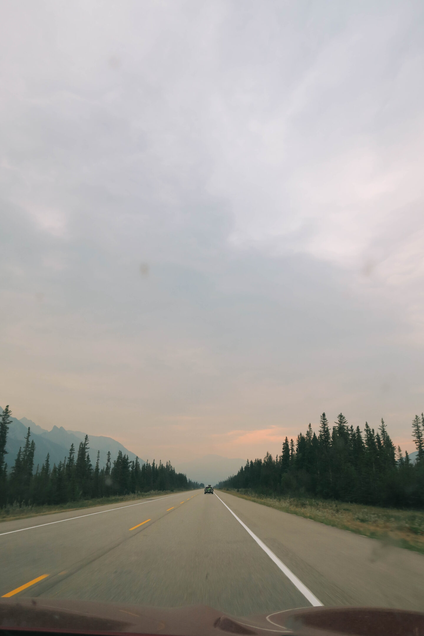 Hazy sky in Jasper, Alberta
