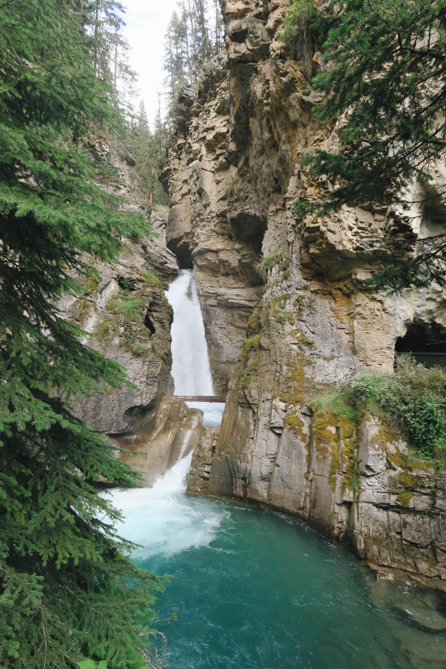 Johnston Canyon waterfall in Banff, Alberta