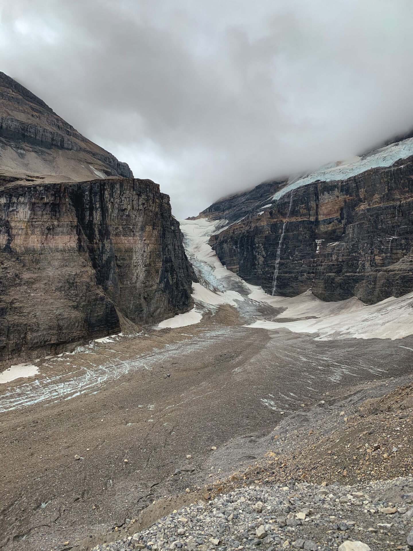 Glacier viewpoint at the Plain of the Six Glaciers hike in Lake Louise, Alberta
