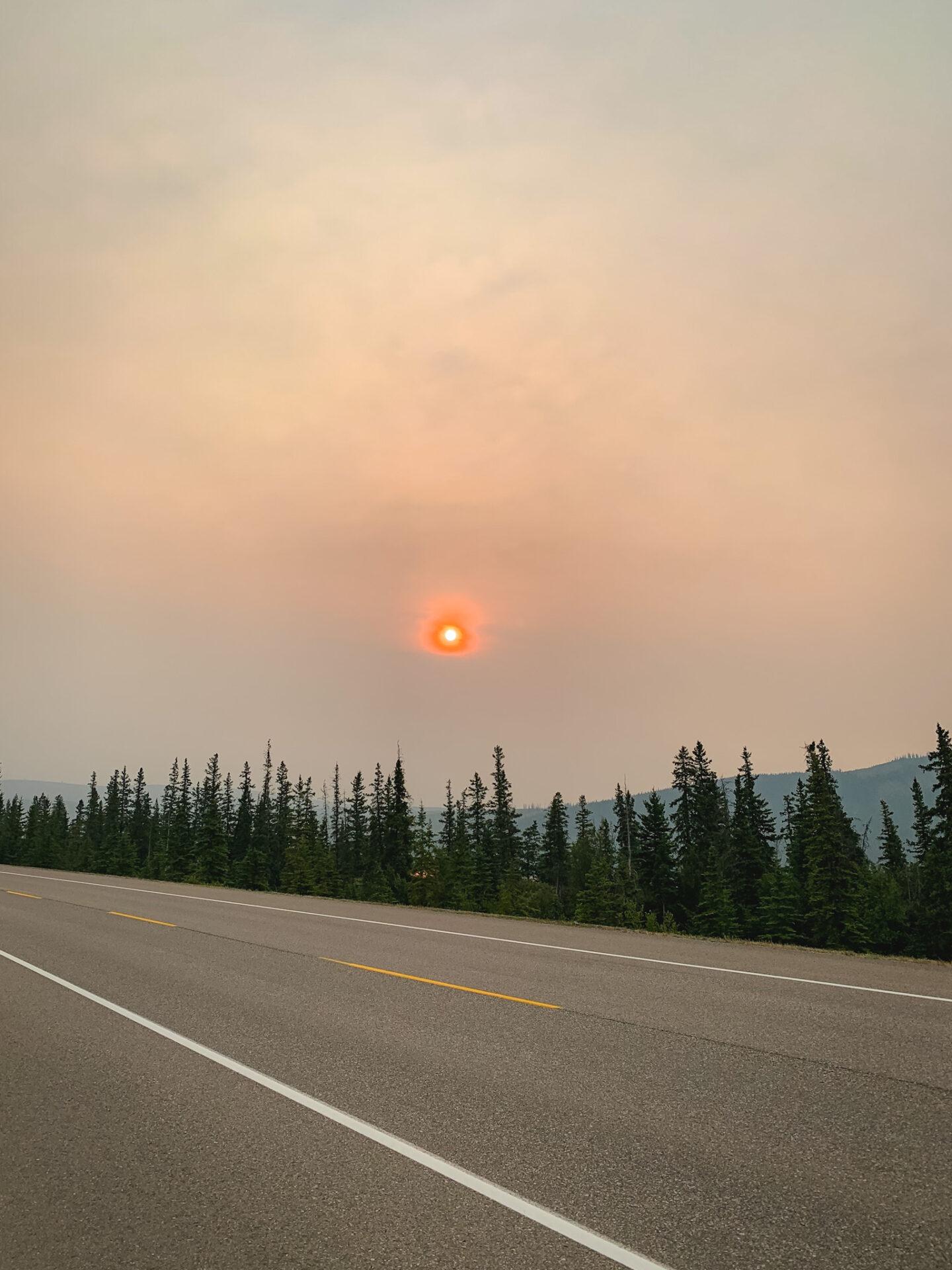 Red sun in Jasper National Park, Alberta