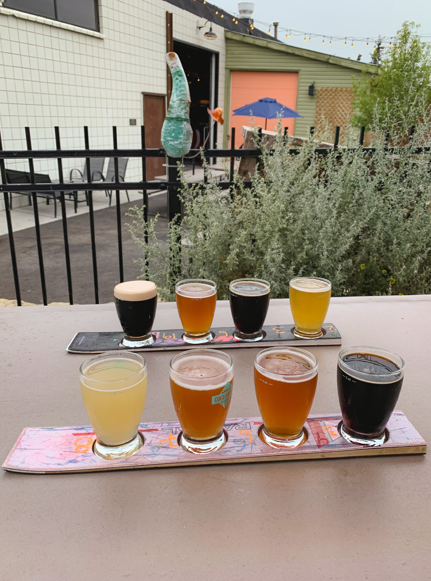 Craft beer flights from Cold Garden Beverage Company in Calgary, Alberta