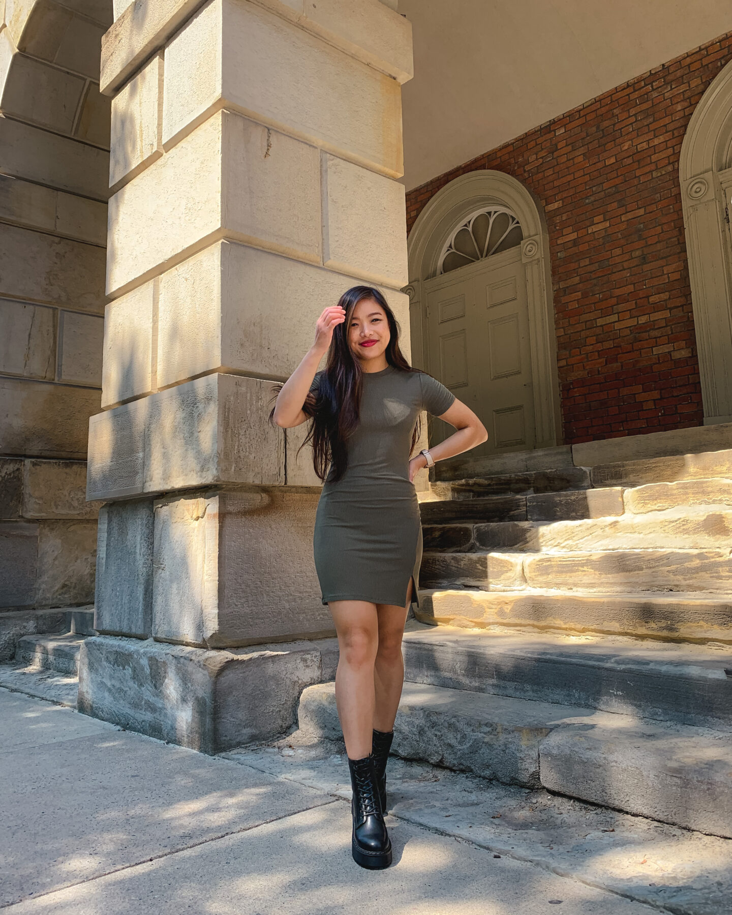 Nordstrom BP. front slit ribbed t-shirt dress with Steve Madden Betty lace-up combat boots | Osgoode Hall in Toronto