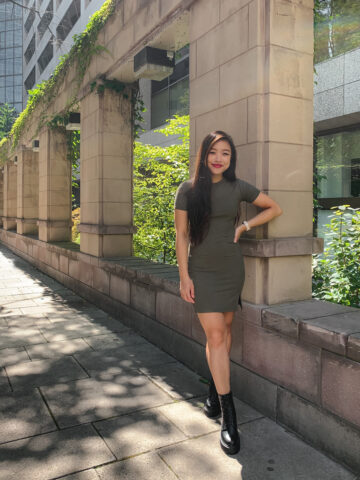 Nordstrom BP. front slit ribbed t-shirt dress with Steve Madden Betty lace-up combat boots | summer to fall outfits | Toronto Eaton Centre